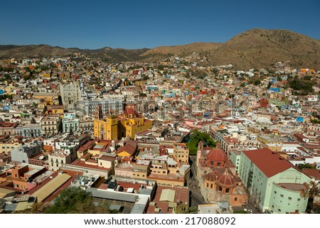 the central area of Guanajuato, Mexico, seen from the top - stock photo