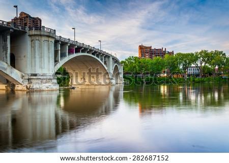 The Central Avenue Bridge over the Mississippi River, in Minneapolis, Minnesota. - stock photo