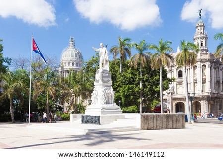 The Central Park of Havana with the Capitol in the background (on a beautiful summer day) - stock photo