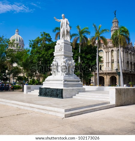 The Central Park of Havana with the Jose Marti Monument and the Capitol on the background - stock photo