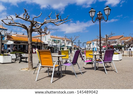 The central square of Saintes Maries de la Mer