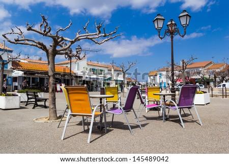 The central square of Saintes Maries de la Mer - stock photo