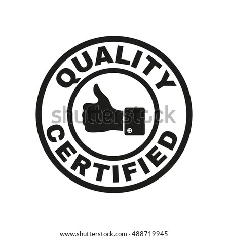 Certified Quality Thumbs Icon Approval Approbation Stock ...