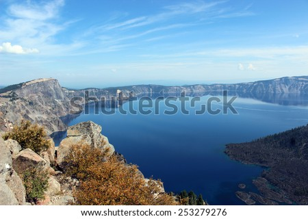The cerulean blue water of Crater Lake in southern Oregon.  - stock photo