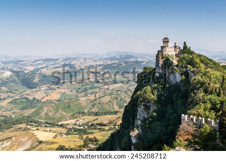 The Cesta is second of the three towers in San Marino - stock photo