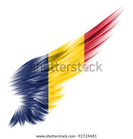The Chad flag on Abstract wing and white background - stock photo