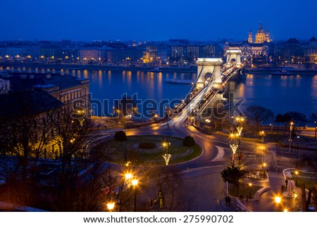 The Chain Bridge and Danube river in Budapest the capital of Hungary. - stock photo