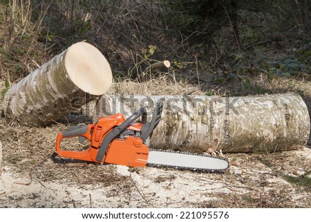 the chainsaw, lumberjack felling, break from work - stock photo