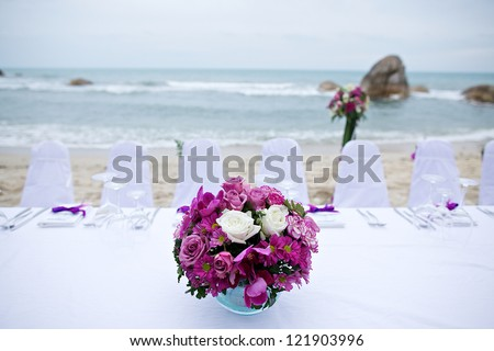 the chairs at a beach wedding - stock photo