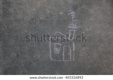The chalk house on the pavement - stock photo