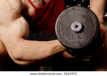 The champion in a fitness center - stock photo