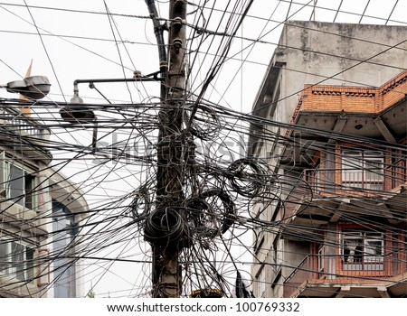 The chaos of cables and wires in Kathmandu - Nepal - stock photo
