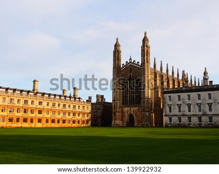 The Chapel and Back Lawn of King's College, part of the University of Cambridge. - stock photo