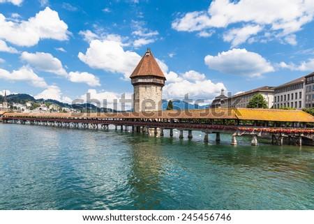 The chapel bridge in Lucerne, Switzerland - stock photo
