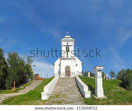 The Chapel of Holy Cross. The oldest Roman Catholic Church in Banat is to be found above town Vrsac et the Misa Hill. Banat District, Vojvodina province, Serbia - stock photo