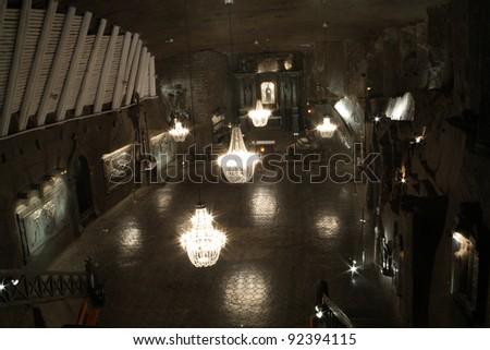 The Chapel of Saint Kinga in Salt mine Wieliczka - stock photo