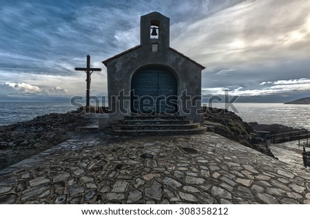 The chapel of Saint Vincent in Collioure, France. - stock photo