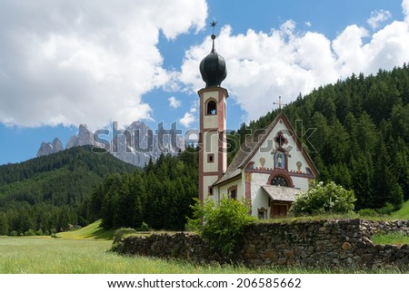 The chapel St. Johann in the Funes valley , South Tyrol, Italy