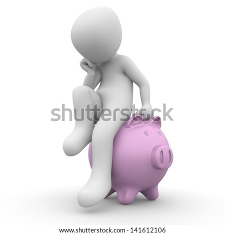 The character has to make money and sits on the piggy bank. - stock photo