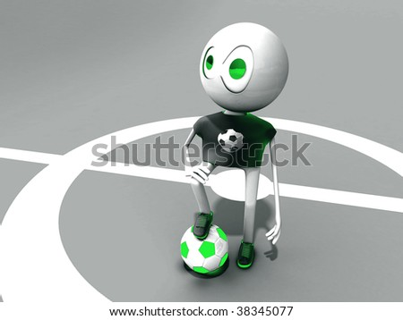 The character on a football ground with a ball