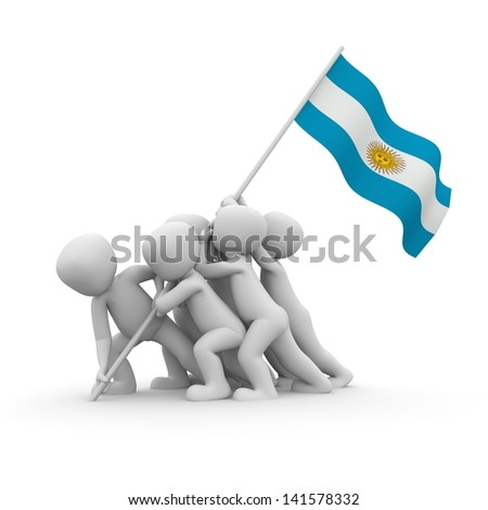 The characters want to hoist the Argentinean flag together.