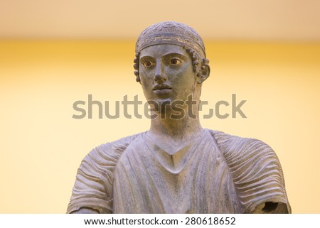 The Charioteer of Delphi, Greece - stock photo
