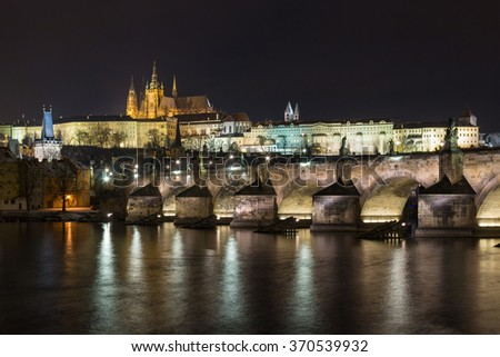 The Charles Bridge and Prague Castle in the night background.