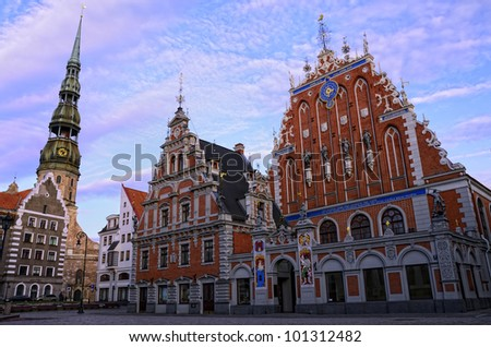 The charm of the capitol of Latvia is doubtless. This square is one of the pearls of Riga. - stock photo