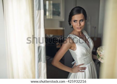 The charming  bride with bouquet