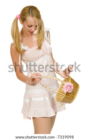 The charming girl with woven basket.