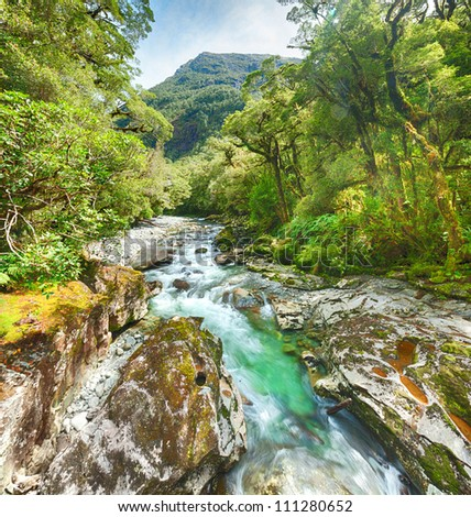The Chasm (Fiordland, South Island, New Zealand) - stock photo