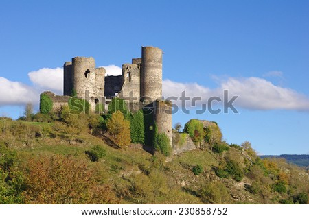 The Chateau domeyrat is a ruined castle situated in auvergne (France). - stock photo