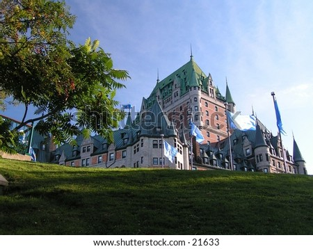 the Chateau Frontenac in Quebec city from a different view point - stock photo
