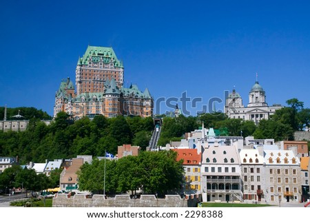 The Chateau Frontenac, the best known building in Quebec city. - stock photo