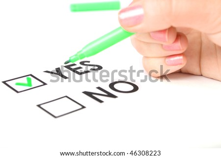 The checklist with yes or no on white paper
