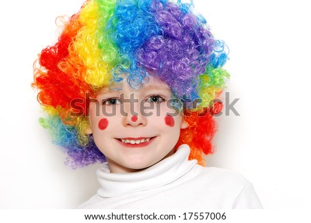 The cheerful clown on a light background - stock photo