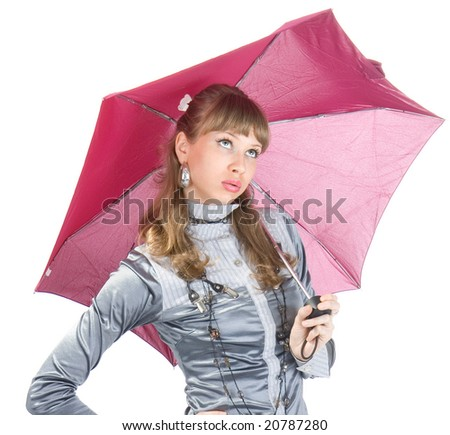 The cheerful woman  with a pink umbrella, isolated on white