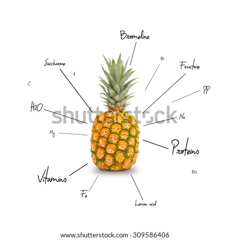 The chemical composition of pineapple on the white backdrop - stock photo