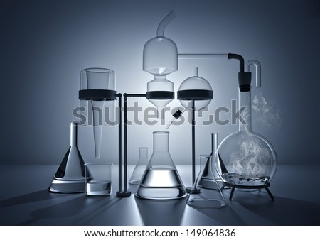 The Chemistry Lab. Various glass chemistry lab equipment - stock photo