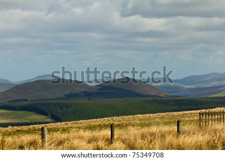 The Cheviot hills marking the border between England and Scotland in Northumberland from the Carter Bar. - stock photo