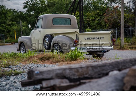 The Chevrolet truck 1947 parking in the train station on July, 27, 2016 Chonburi,Thailand