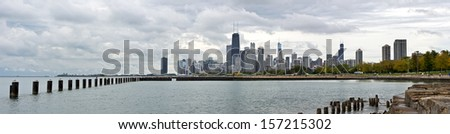 The Chicago city skyline viewed from Fullerton Avenue beach. - stock photo