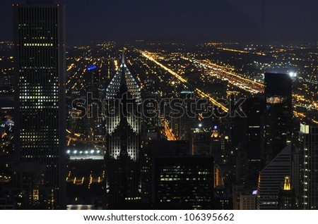 The Chicago skyline at night - stock photo