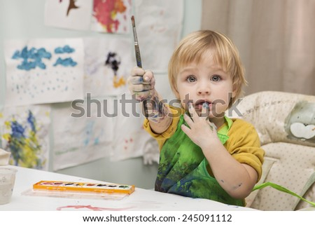 the child draws - stock photo