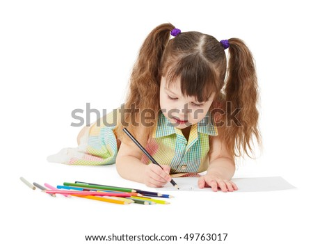 The child draws a crayon drawing on white - stock photo