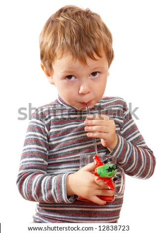The child drinks juice - stock photo