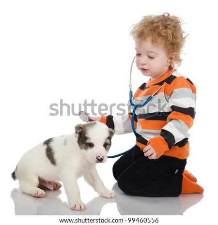 the child examining dog and listening with stethoscope during checkup. isolated on white background