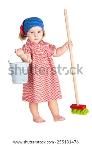 The child girl the housewife wearing red dotted cloth the cleaner with tools isolated on a white background. - stock photo