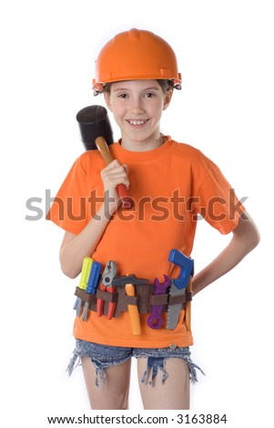 The child in a helmet with tools on white background - stock photo