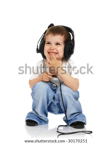 The child in headphones on a white background